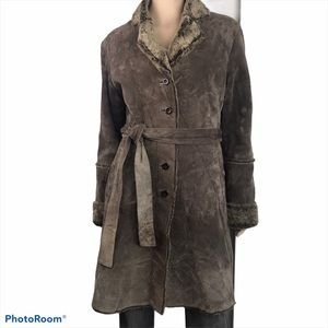Express Women's Brown Suede Furry Button Up Jacket